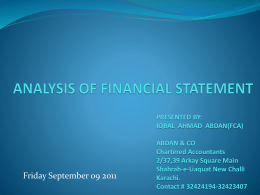 ANALYSIS OF FINANCIAL STATEMENT by IQBAL AHMAD ABDAN