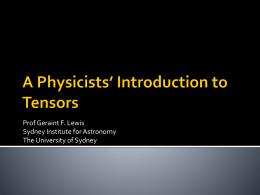 Tensors - The University of Sydney