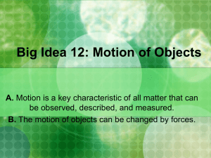 Big Idea 12 : Motion of Objects