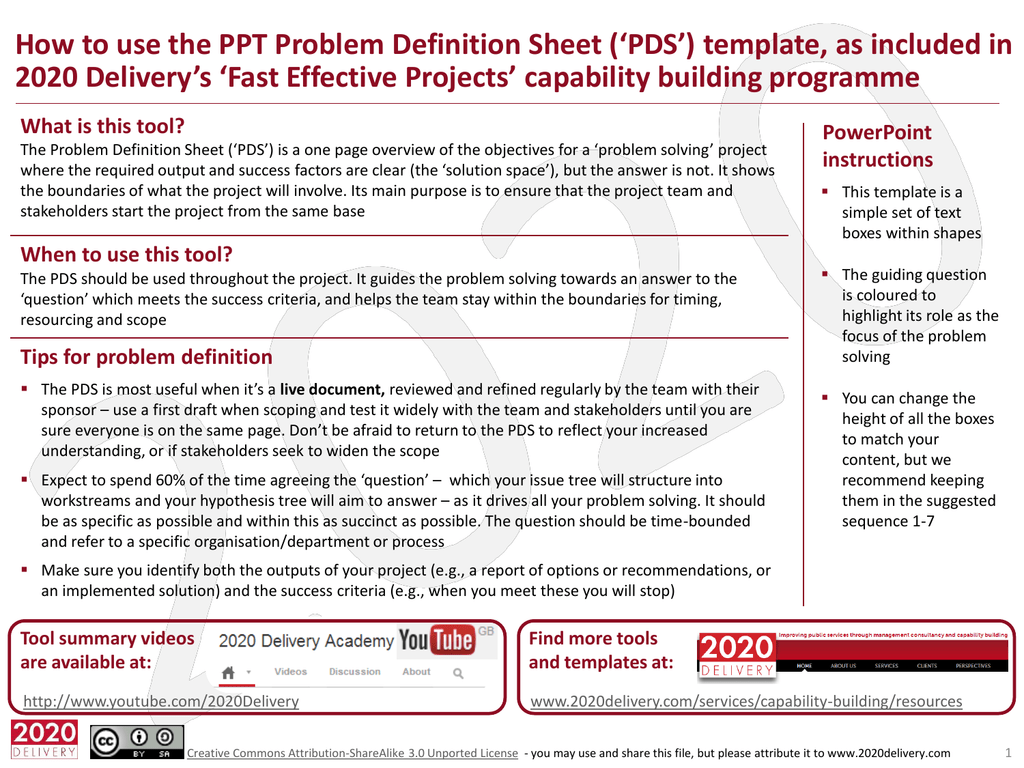 Problem Definition Sheet PDS
