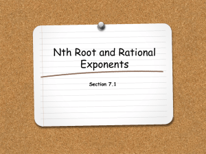 Nth Root and Rational Exponents