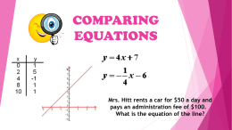 COMPARING EQUATIONS