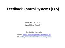 Lecture-16-17-18: Signal Flow Graphs - Dr. Imtiaz Hussain