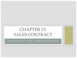 Chapter 13: Sales Contract - Mrs. Ingram`s Class Website