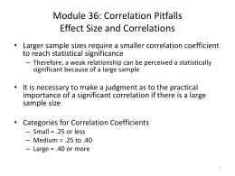 Effect Size and Correlations