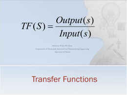 Lecture 16 - Transfer Functions