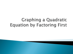 6.3 Graphing a Quadratic Equation by Factoring First