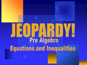 Jeopardy Inequalities and Equations