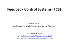 Lecture-10-11-12: Mathematical Modeling of