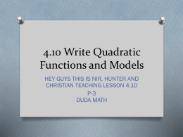 4.10 Write Quadratic Functions and Models