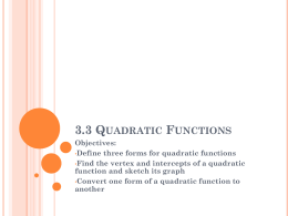 3.3 Quadratic Functions - ASB Bangna