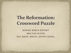 The Reformation: Crossword Puzzle