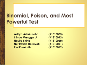 Binomial, Poison, and Most Powerful Test Theorem 12. 4. 1