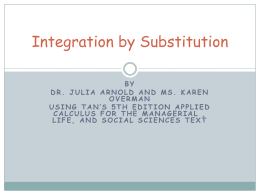 6.2 Integration by Substitution