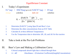 spectrophotometric determination of equilibrium formal report Overview source: laboratory of dr michael evans — georgia institute of  technology the equilibrium constant, k, for a chemical system is the ratio of  product.