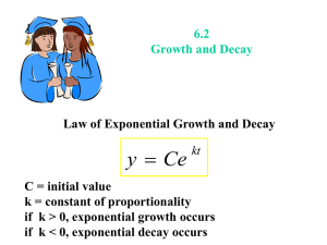 6.2 Differential Equations: Growth and Decay