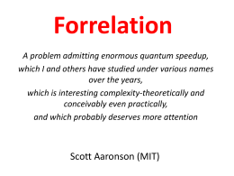 Forrelation - Scott Aaronson
