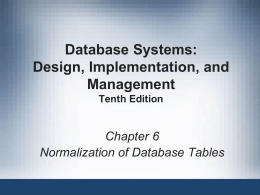Chapter 6 - Normalization of Database Tables