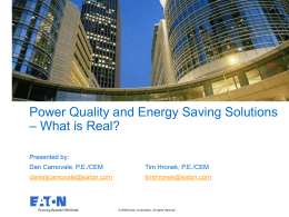 Power Quality and Energy Saving Solutions
