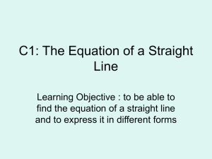 C1: The Equation of a Straight Line