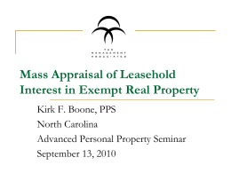 Mass Appraisal of Leasehold Interest in Exempt Real Property