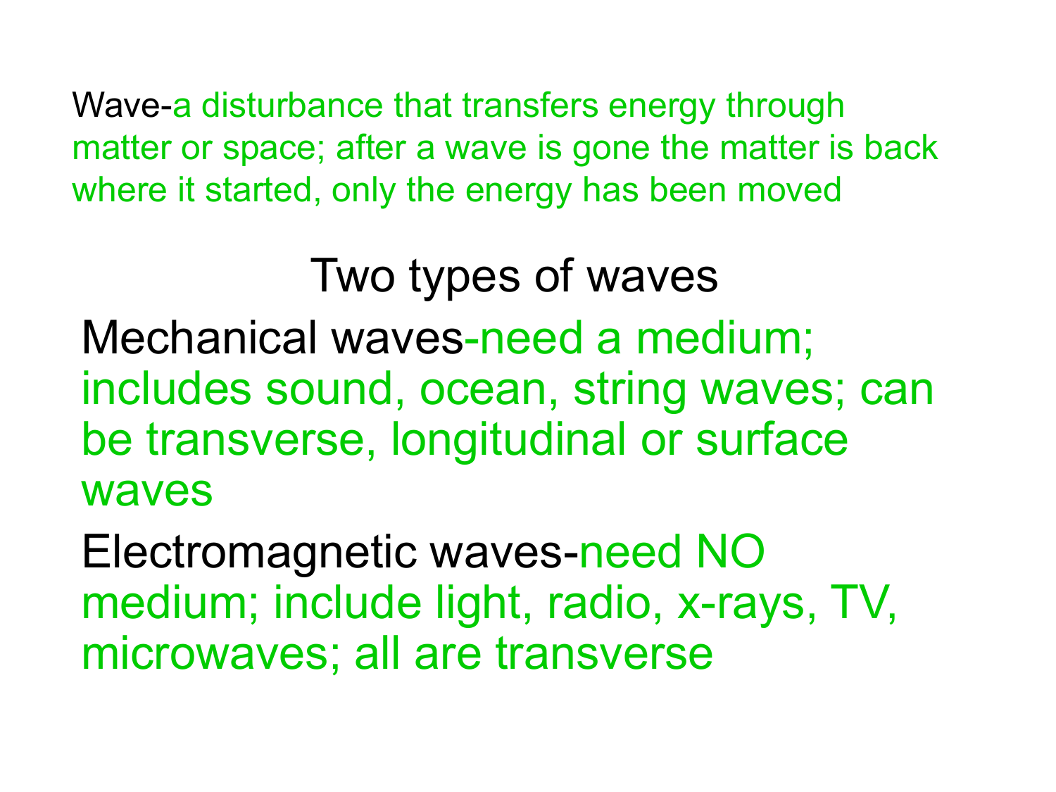 Wave A Disturbance That Transfers Energy Through Matter Or Space