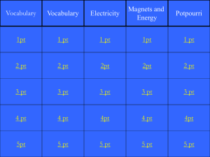 Electricity Jeopardy Game - Fair Lawn Public Schools
