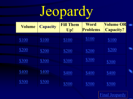Volume and Capacity Jeopardy