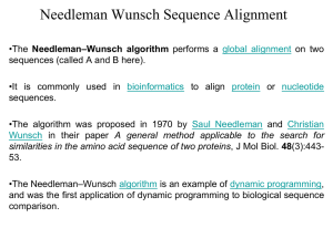 Needleman Wunsch Algorithm for Sequence Alignment in