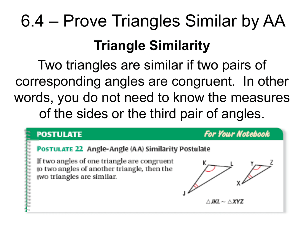 Worksheets Proving Triangles Similar Worksheet 6 4 prove triangles similar by aa