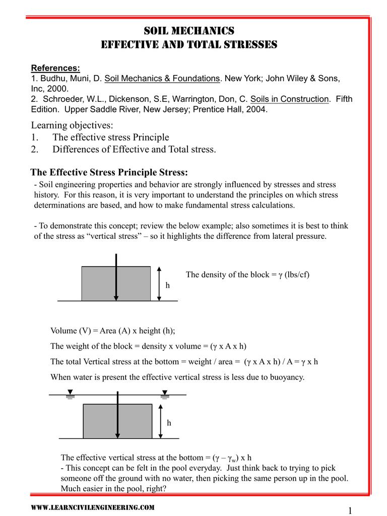 Geo-mechanics (ce2204) soil stress and pore water pressure ppt.