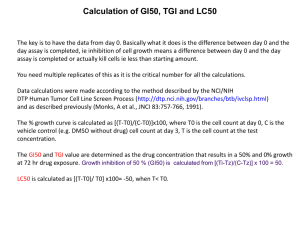 Calculation of GI50, TGI and LC50