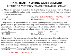 final: healthy spring water company defining the price