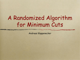Slides Set 13: Minimum Cut