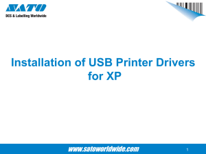 Installation of USB Printer Drivers for XP www.satoworldwide.com