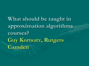 1) What should we teach in approximation algorithms courses?