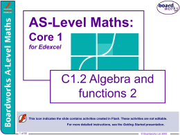 C1.2 Algebra and functions 2