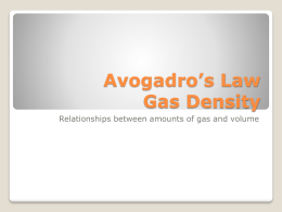 Avogadro`s Law Gas Density