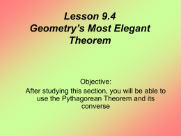Lesson 9.4 Geometry`s Most Elegant Theorem