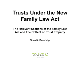 The new Family Law Act – Trusts