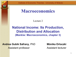 Macroeconomics Lecture 2 National Income: Its Production