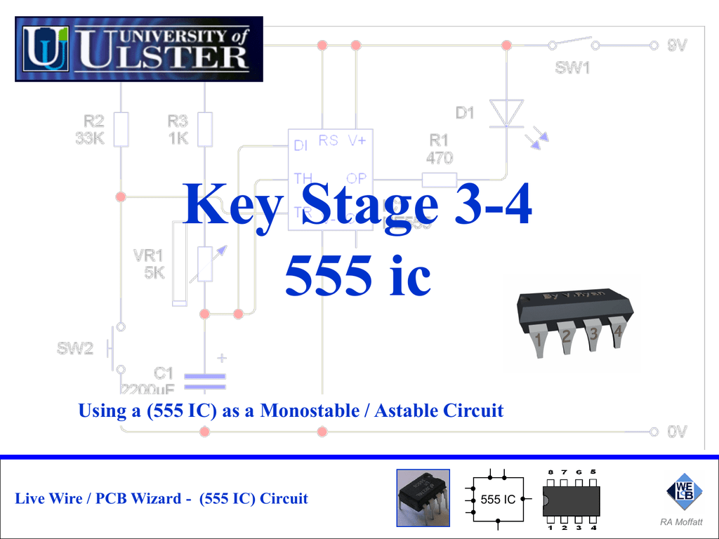 555 Ic Circuit Monostable Diagram