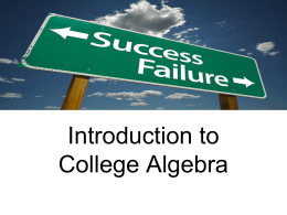 How to Succeed in College Algebra