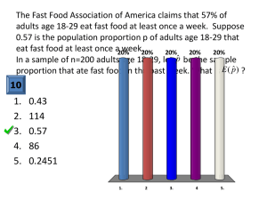 The Fast Food Association of America claims that 57% of adults age