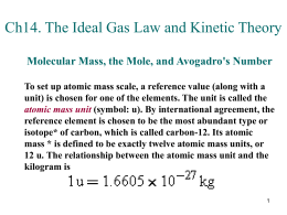 Ch14 The Ideal Gas Law and Kinetic Theory