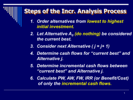 IENG 302 Lecture 10: Incremental Analysis & IRR
