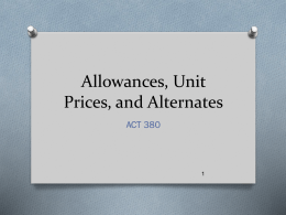 Allowances, Unit Prices, and Alternates