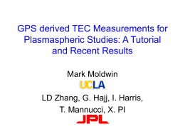 GPS derived TEC Measurements for Plasmaspheric