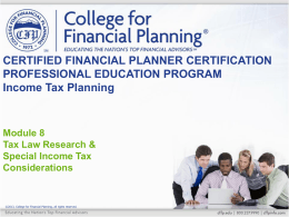 8–2 - College for Financial Planning