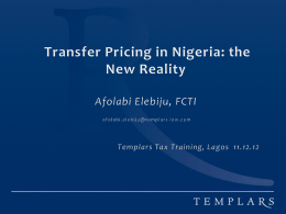 Transfer Pricing in Nigeria - The New Reality